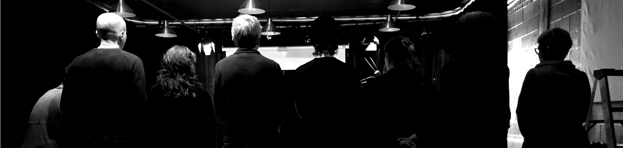 black and white photo of participants performing for sherry yoon's master class