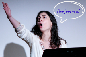 "Woman Speaking ""Bonjour"""