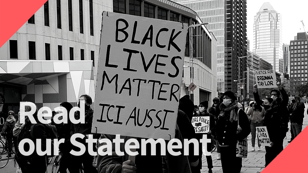 Black Lives Matter Ici aussi - photo of a demonstration in Montréal by Rebecca Bain