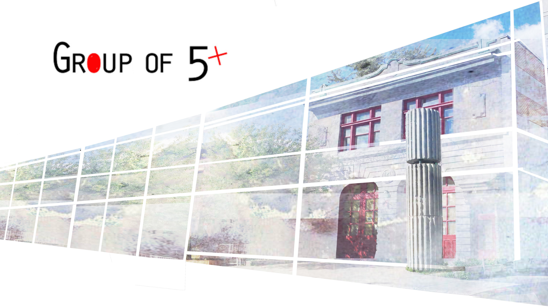 Header image for the Group of 5 webpage. Name of the group and image of the Firestation 14, expected home of the group.